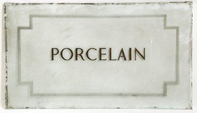 Pr of Glass Panels, 'Porcelain' & 'Valuations'