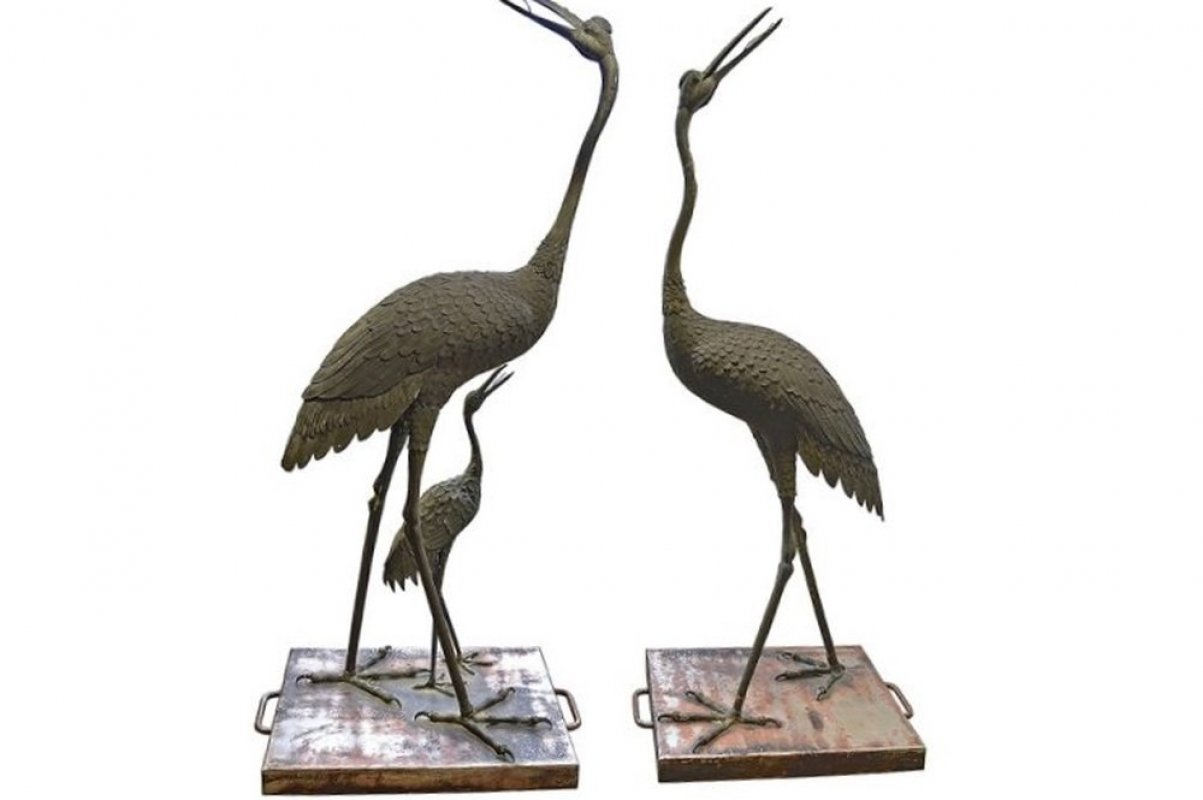 Pr of Bronze Japanese Cranes