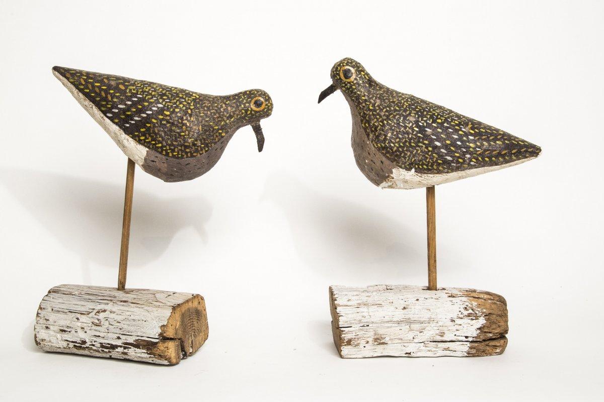 Pr Papier Mache Bird Decoys on stands